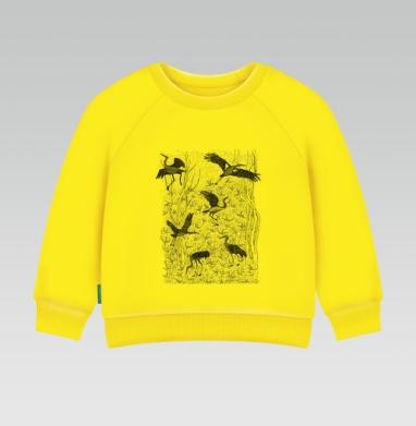 Черные журавли, Cвитшот Детский желтый 240гр, тонкая