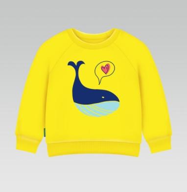 Cвитшот Детский желтый 240гр, тонкая - Кит любит тебя