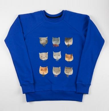 Котитки девять - Cвитшот женский, синий 320гр, стандарт, Популярные