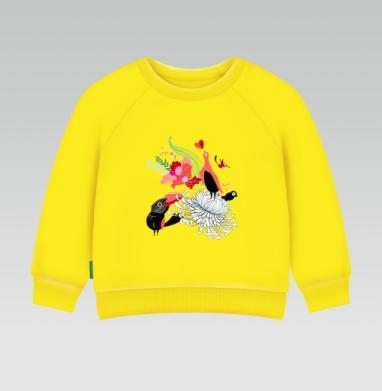Cвитшот Детский желтый 240гр, тонкая - Влюблённые птицы