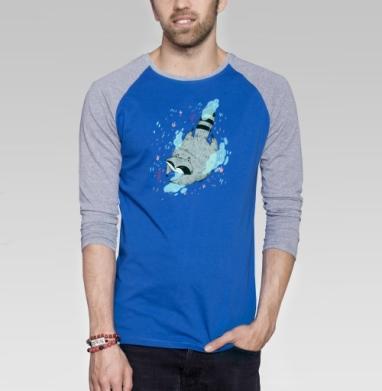 Парящий енот - Футболка мужская с длинным рукавом синий / серый меланж, Мило