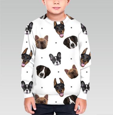 Cвитшот детский без капюшона (полная запечатка) - Паттерн собачки