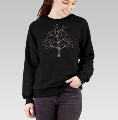 Cвитшот женский черный 340гр, теплый - Tree Of Bones