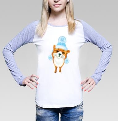 Футболка лонгслив женская бело-серая - Зимний лисёнок