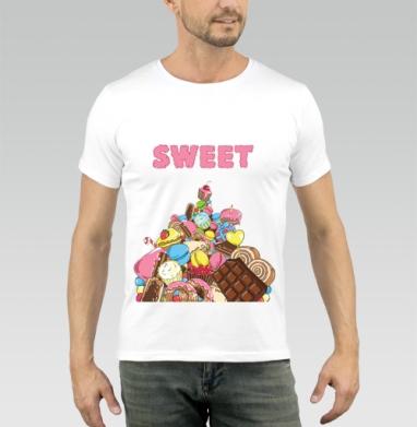 Гора сладостей - Купить мужские футболки сладости в Москве, цена мужских футболок со сладостями  с прикольными принтами - магазин дизайнерской одежды MaryJane