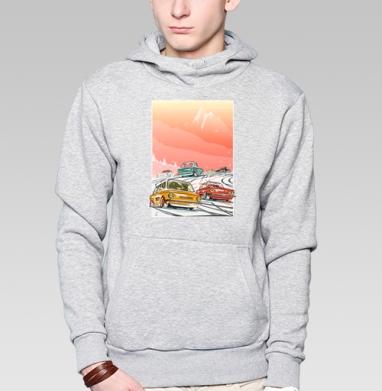 Ралли винтаж зимнее утро - Толстовка мужская, накладной карман серый меланж