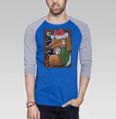 Уютный новогодний пес - Футболка мужская с длинным рукавом синий / серый меланж