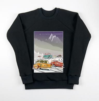 Ралли винтаж зимняя ночь, Свитшот мужской черный 340гр, теплый
