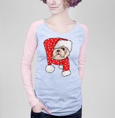 Санта пес - Футболка женская с длинным рукавом серый меланж/розовая