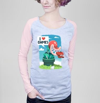 Хищное растение - Футболка женская с длинным рукавом серый меланж/розовая