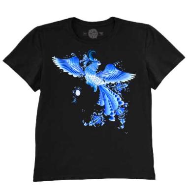 Синяя птица удачи в стиле гжельской росписи, Футболка мужская чёрная 200гр