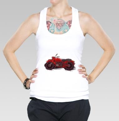 Красный мотоцикл, Борцовка женская белая рибана 200гр