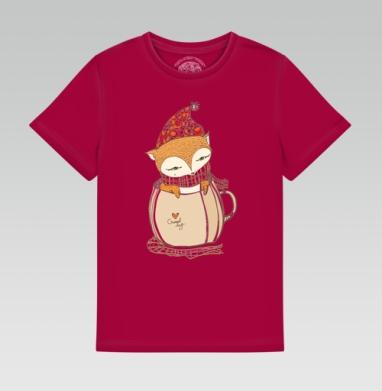 Детская футболка темн. красная 160гр - Лися