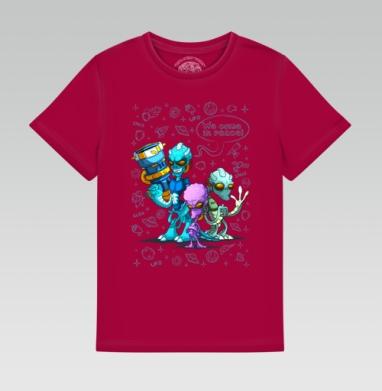 Детская футболка темн. красная 160гр - Инопланетные захватчики