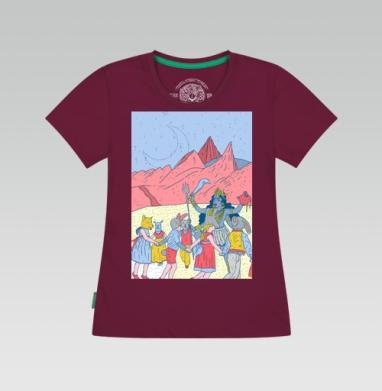 Розовые холмы, Футболка женская бордовый180 гр.