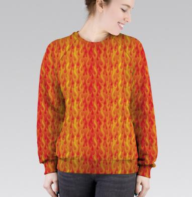 Cвитшот женский 3D - Огненная текстура