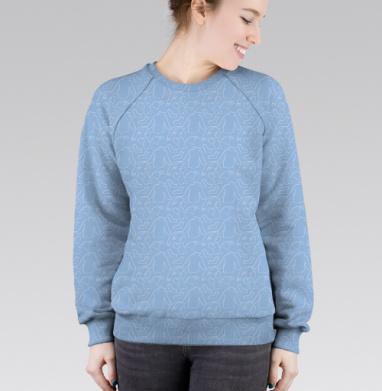 Cвитшот женский 3D - Бесшовный паттерн теплая уютная зимняя одежда