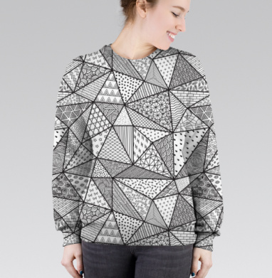 Cвитшот женский 3D - Треугольники с узорами