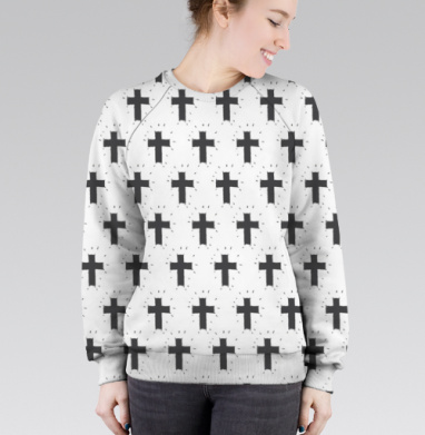 Cвитшот женский без капюшона (полная запечатка) - Декоративные кресты