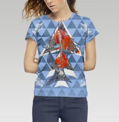 Анатомическая рыба-треугольник, Футболка женская c полной запечаткой