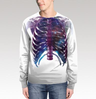 Свитшот мужской без капюшона (полная запечатка) - Космическая грудная клетка