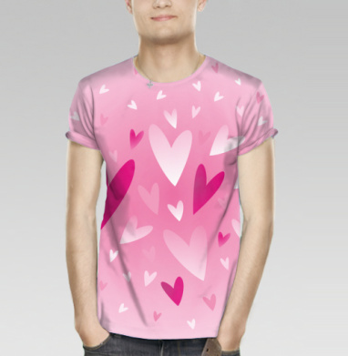 Футболка мужская 3D - Много розовых сердец