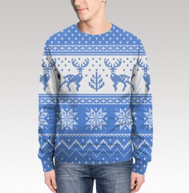 Свитшот мужской 3D - Зимний свитер с оленями