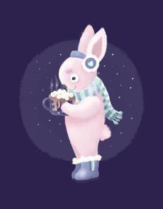 Зайка с какао - Смешные футболки с зайцами