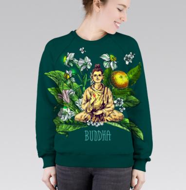 Cвитшот женский без капюшона (полная запечатка) - Будда в абхазской флоре