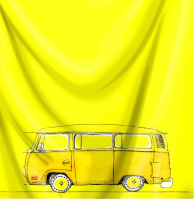 Жёлтый Автобус - Печать на ткани