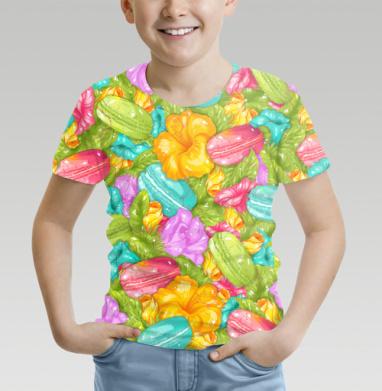 Футболка детская (полная запечатка) - Цветы и печеньки