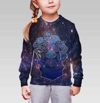 Cвитшот детский без капюшона (полная запечатка) - Из Космоса границ не видно