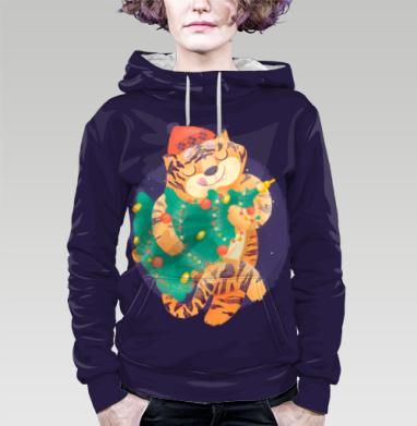 Новогодний Тигра, Толстовка женская с карманом 3D