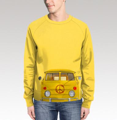 Хиппи Автобус, Свитшот мужской без капюшона (полная запечатка)