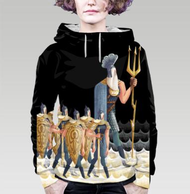 Морские витязи, Толстовка женская с карманом (полная запечатка)