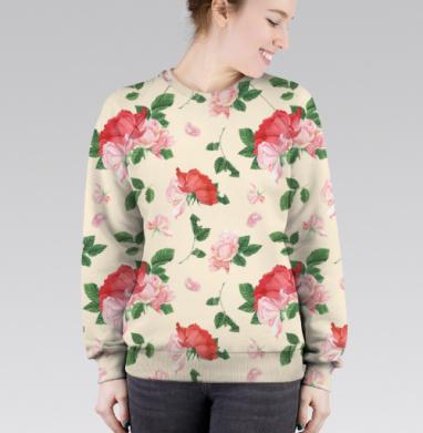 Розовые розы на кремовом фоне, Cвитшот женский без капюшона (полная запечатка)
