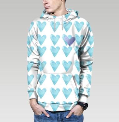 Голубое сердце, Толстовка мужская с карманом (полная запечатка)