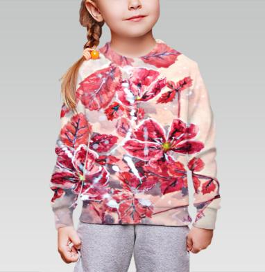 Cвитшот детский без капюшона (полная запечатка) - Розовый шиповник