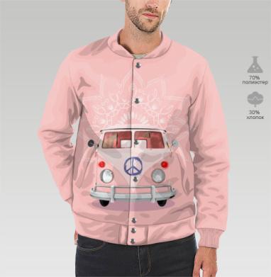 Розовый Хиппи Автобус, Бомбер мужской 3D