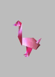 - Розовый гусь оригами