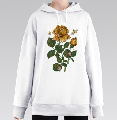 Fantastic flower, Hoodie Mjhigh Long White