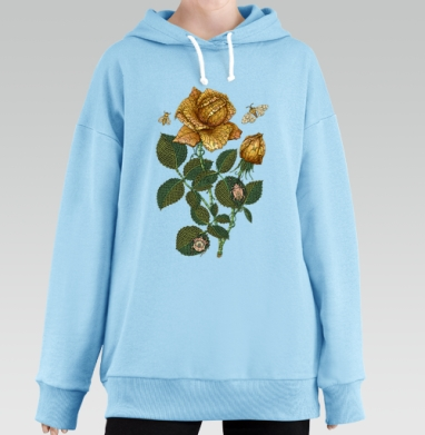 Fantastic flower, Hoodie Long Oversize Blue