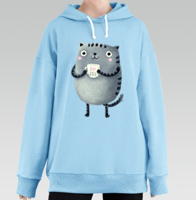 Кот I♥kill, Hoodie Long Oversize Blue