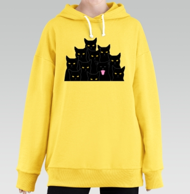 Котики detected, Hoodie Long Oversize Yellow