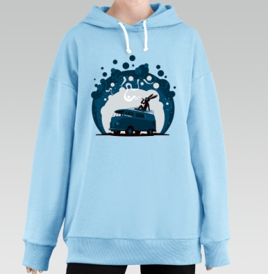 Night Scene '11, Hoodie Long Oversize Blue
