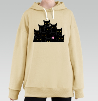 Котики detected, Hoodie Long Oversize Bej, утепленная