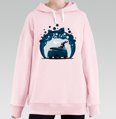 Night Scene '11, Hoodie Long Oversize Pink, утепленная