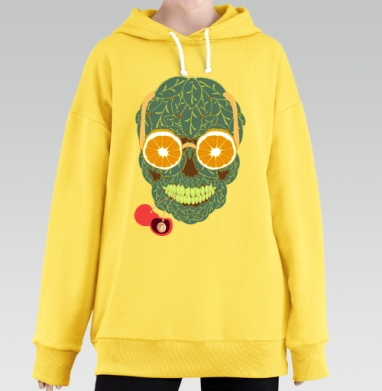 Life is beautiful, Hoodie Long Oversize Yellow