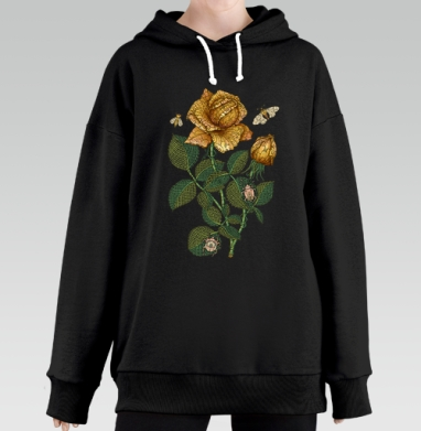 Fantastic flower, Hoodie Long Black, утепленная